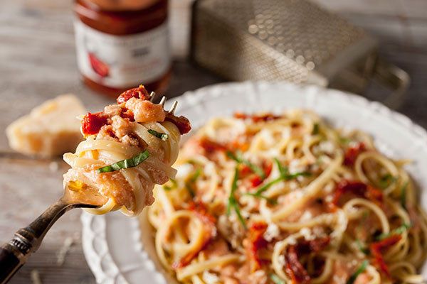 Roasted Red Pepper & Onion Alfredo Pasta