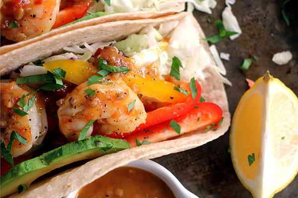 Peach Mango Shrimp Tacos