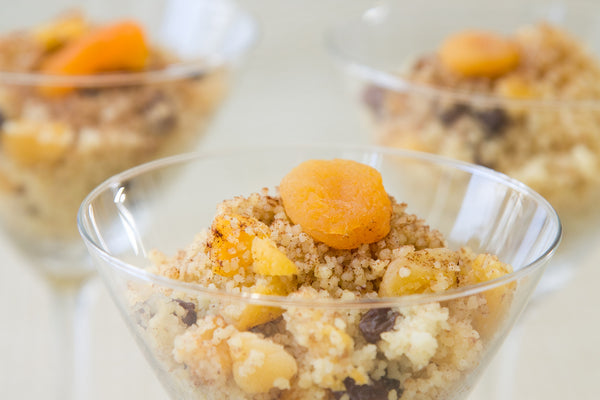 Couscous Salad Over Grilled Peaches