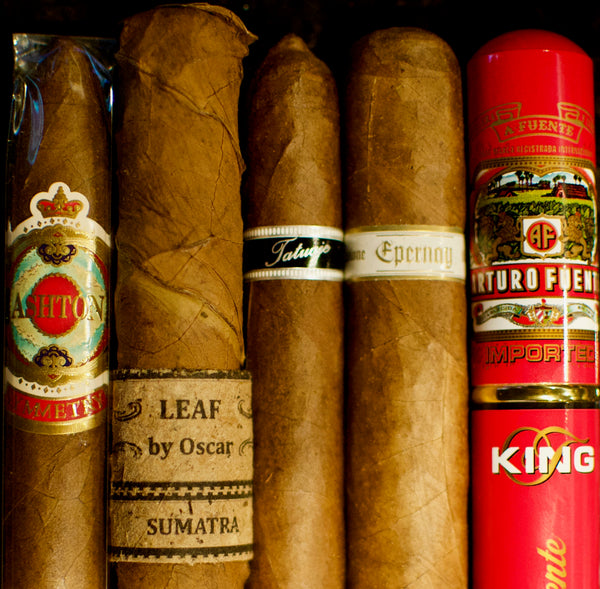 Ashton Symmetry, Leaf Sumatra, Tatujuaje Black Label, Illusione Epernay, Arturo Fuente Rosado King T