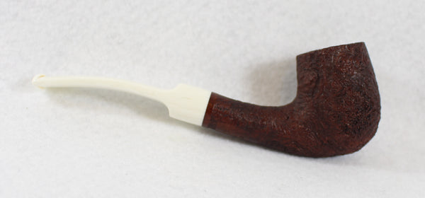 BriarWorks Classic Bent Billard Brown Blast with White Stem