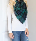 Blue and Green Plaid Blanket Scarf - Amber Moon