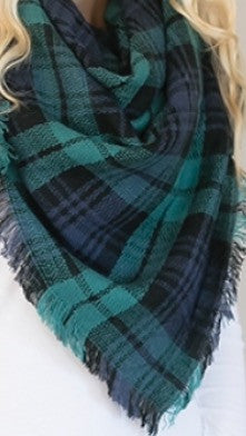 Blue and Green Plaid Blanket Scarf