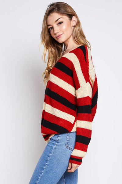 Rust Striped Sweater - Amber Moon