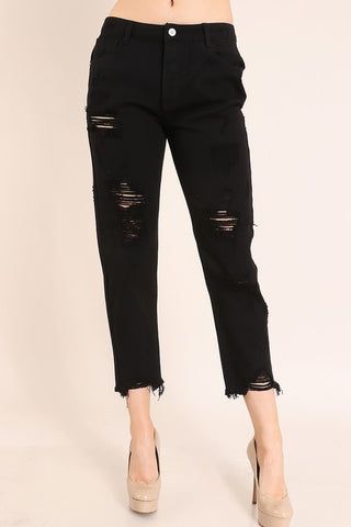 Black Distressed Jeans - Amber Moon