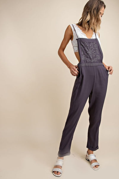 Embroidered Overalls - Amber Moon