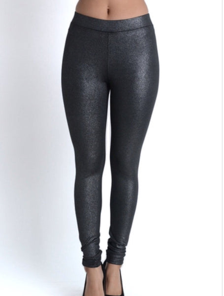 Metallic Faux-Leather Leggings - Amber Moon