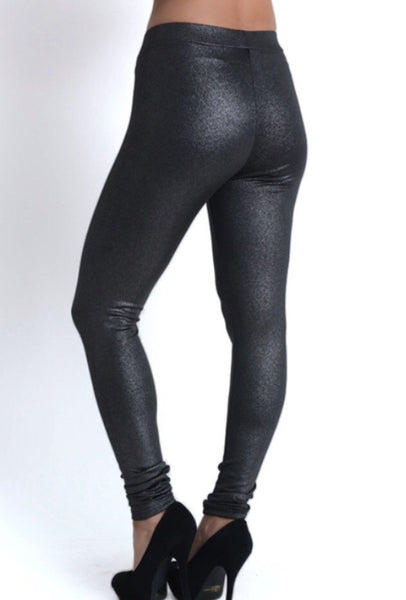Metallic Faux-Leather Leggings
