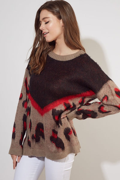 Leopard Colorblock Sweater - Amber Moon
