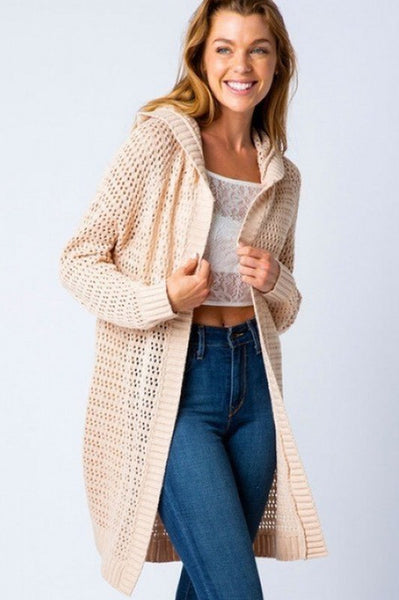 Natural Hooded Cardigan