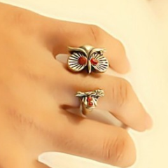 Owl Red eyes Fashion Ring by Pesci Moda