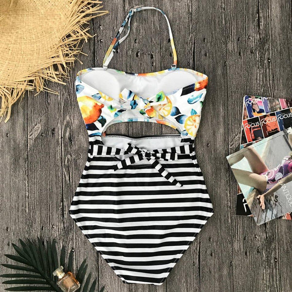 Beach Hit Striped Monokini Halter Swimsuit by Pesci Moda