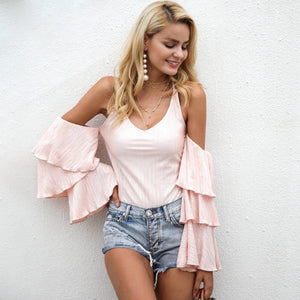 Pink Ruffle Cold Shoulder Bodysuit by Pesci Moda