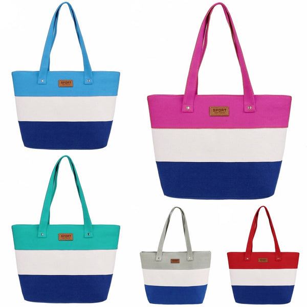New Stylish Striped Color Contrast Handbag  - 1