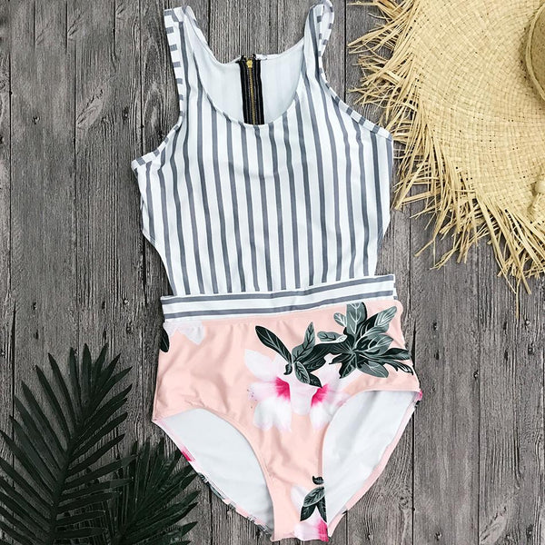 Pink Striped Floral Swimsuit