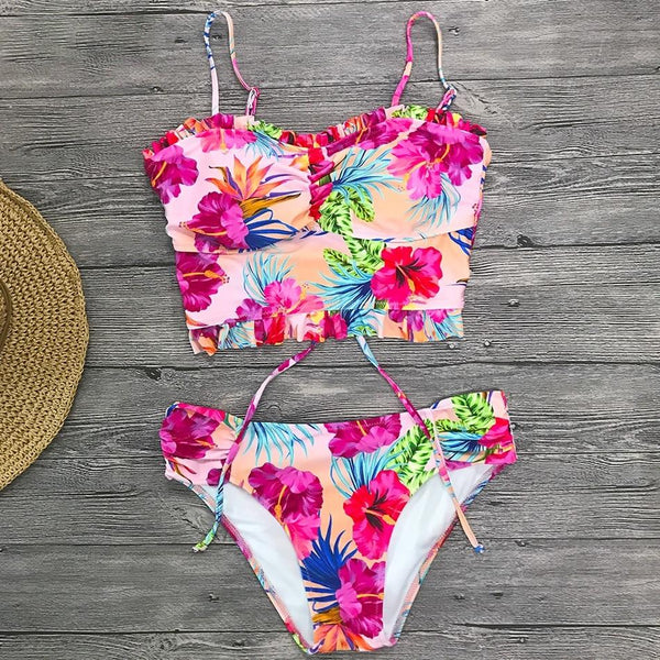 New Crop Top Floral Lace Bikinis