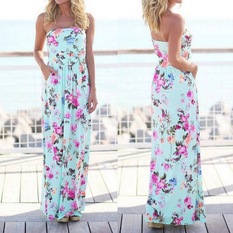Summer Blue Boho Floral Maxi Dress