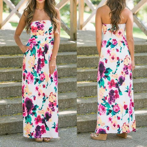 Summer Cute White Floral Maxi Dress