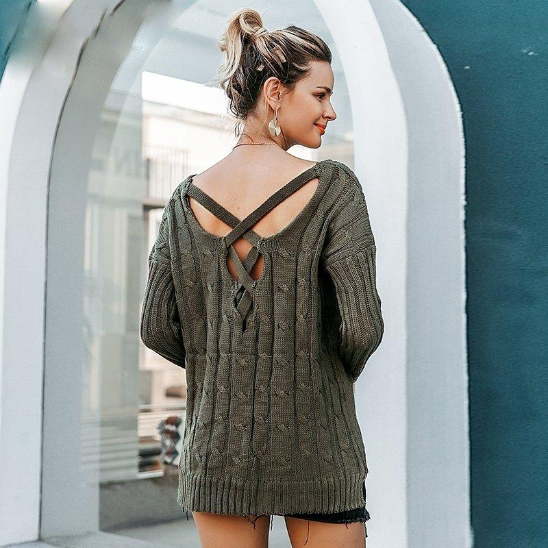 Oversized Knitted Cross Back Loose Sweater