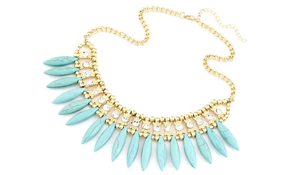 Stylish Fashion Rhinestoned Leaf Shaped Necklace by Pesci Moda