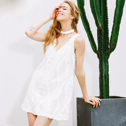 White Halter Lace Sequins Summer Dress