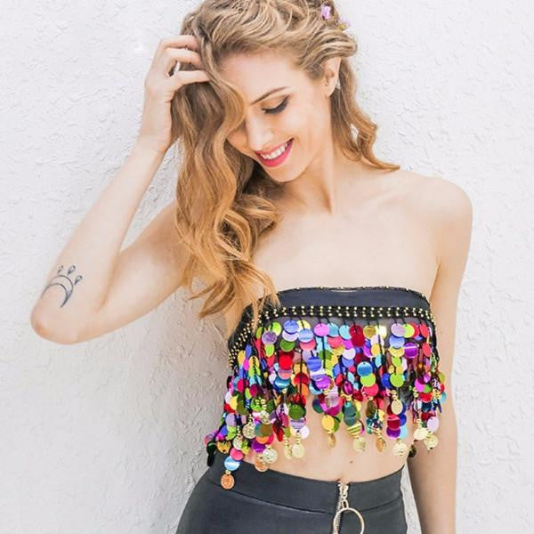 Multicolor Sequins Beading Tube Top by Pesci Moda