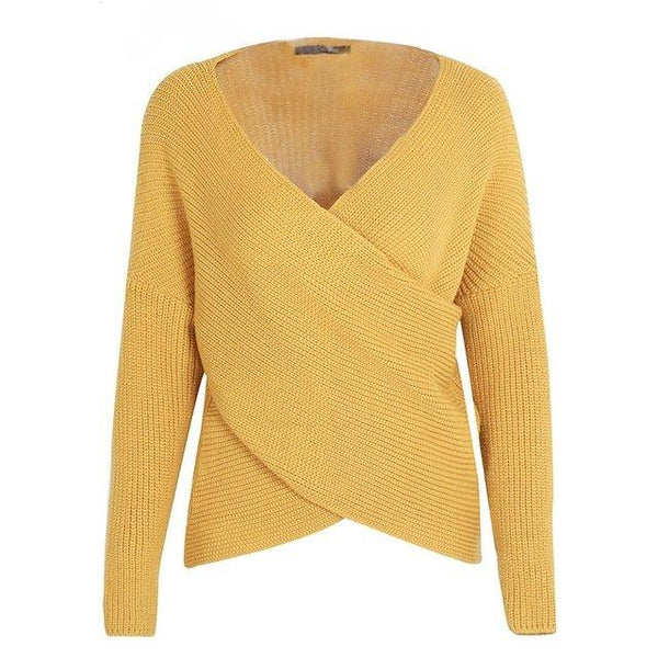 Yellow Criss Cross Front Pullover Sweater