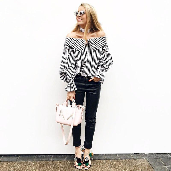 Dark Blue Striped Off shoulder Shirt/Top by Pesci Moda