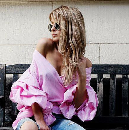 Black/White/Pink Off Shoulder Ruffle Trendy Blouse by Pesci Moda