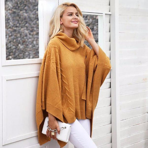 Knitted Turtleneck Sweater Cape Poncho by Pesci Moda