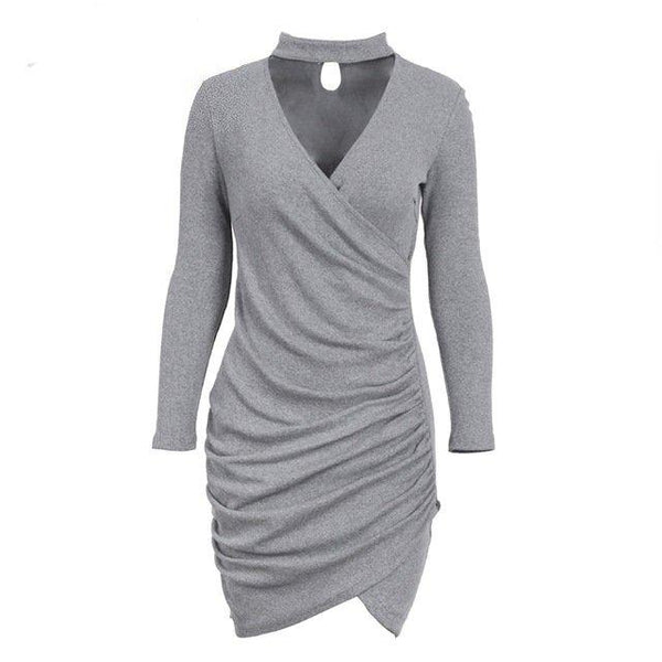Sexy Halter Bodycon Sweater Dress by Pesci Moda