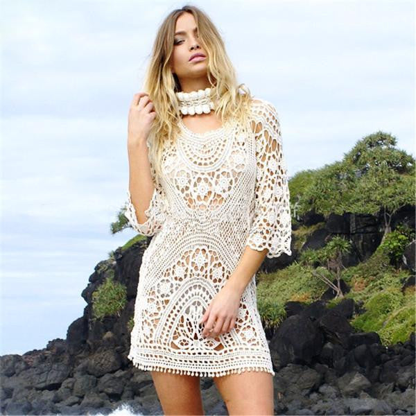 Stylish White Net Lace Cover Up by Pesci Moda