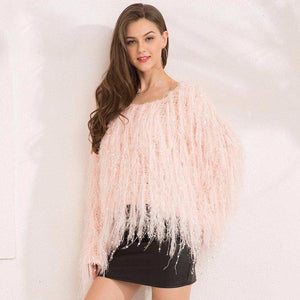 Winter Tassel Sequin Knitted Sweater by Pesci Moda