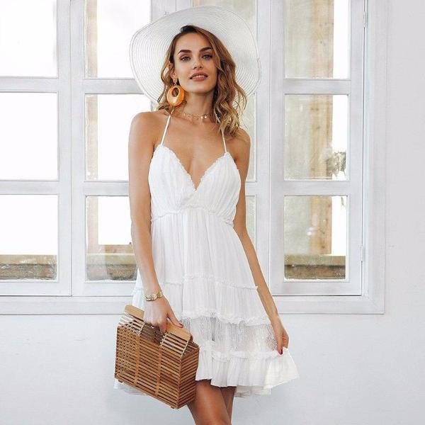 White Backless Boho Mini Dress by Pesci Moda