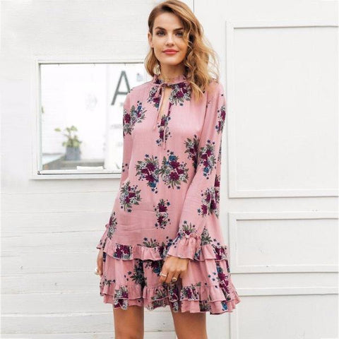 Bohemian High Neck Short Dress