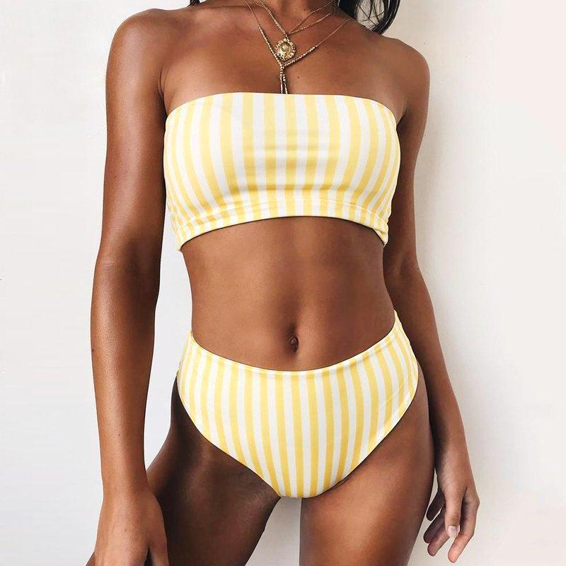 Striped Strapless Push Up Swimsuit