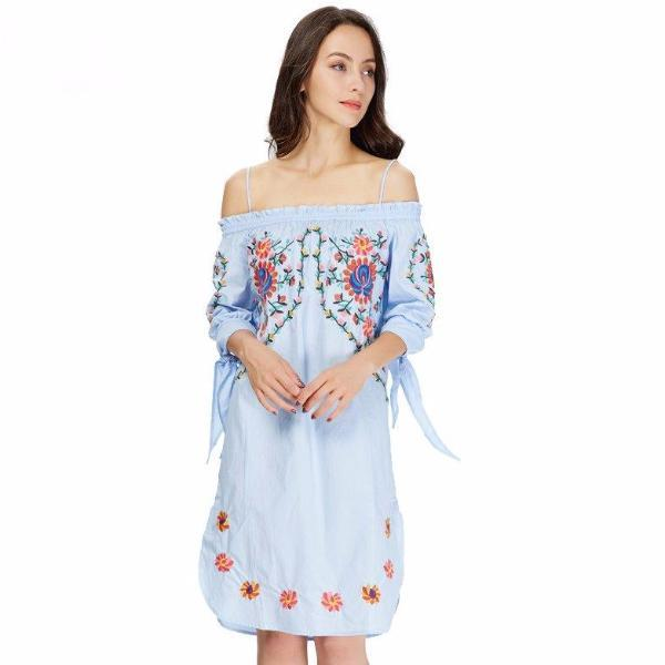 509df109aca9 Buy cheap Blue Flower Embroidery Bohemian Short Dresses online – Pesci Moda