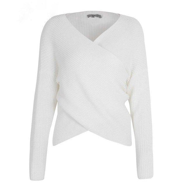 White Criss Cross Front Pullover Sweater