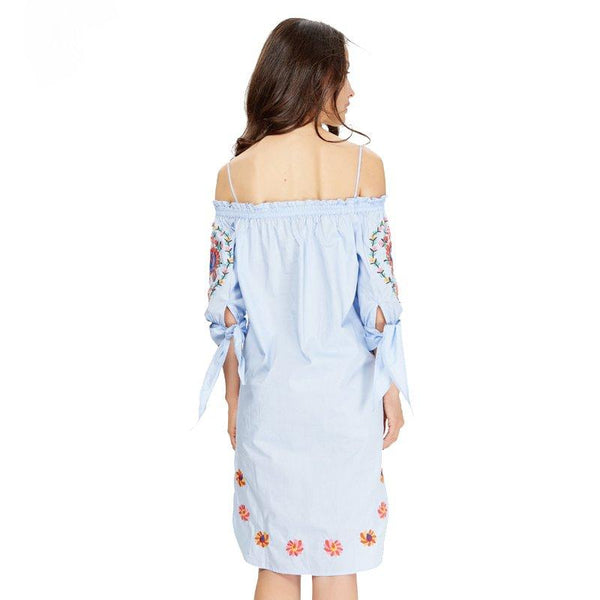 Boho Style Blue Flower Embroidery Dress by Pesci Moda