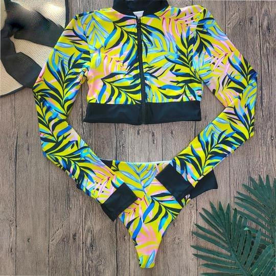 Boho Long Sleeves High Waist Bikinis