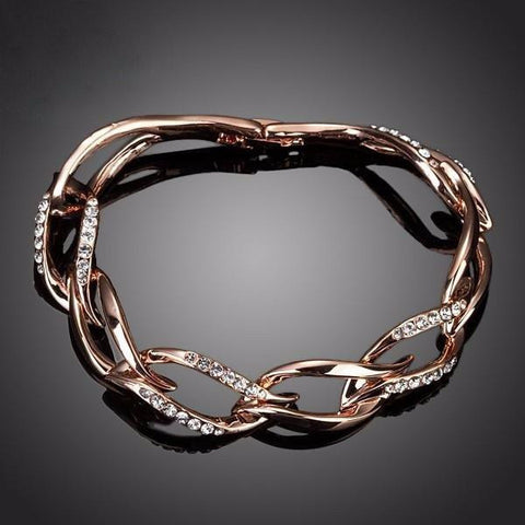 Rose Gold Austrian Crystal Leaves Bracelet by Pesci Moda