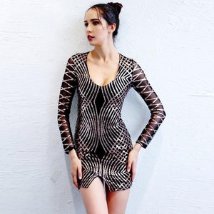 Vintage Sequin Black Bodycon Short Dress by Pesci Moda