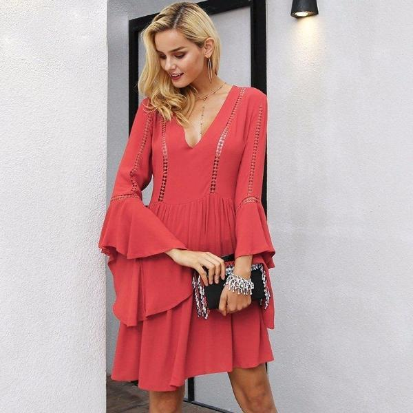 Flare sleeve Red Party Dress by Pesci Moda