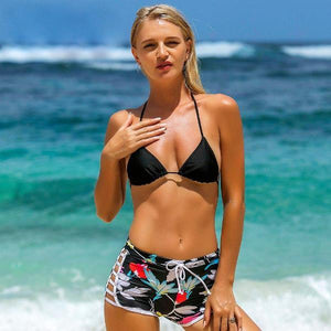 Black High Waisted Two Piece Swimwear by Pesci Moda