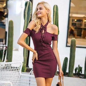 Cold Shoulder Halter Knitted Bodycon Dress by Pesci Moda