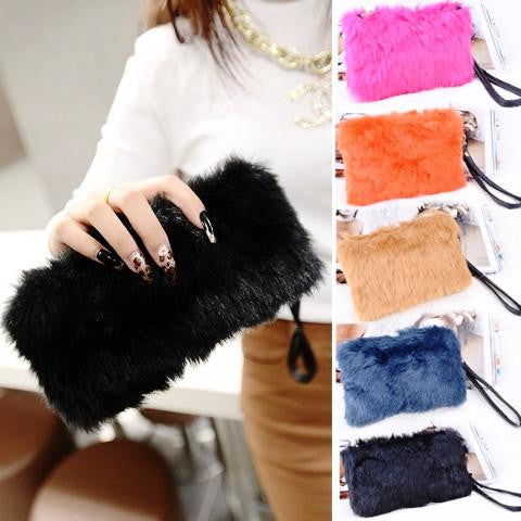 Women's Elegant Clutch Fur Bag by Pesci Moda