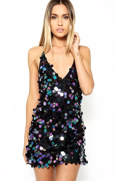 Glitzy Sequins Backless Party Dress