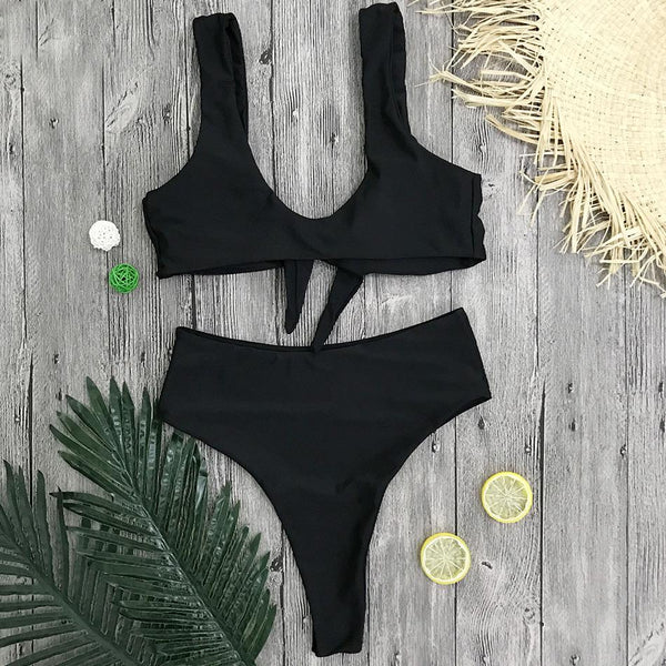 New Bow Knot High Waisted Swimsuit Set