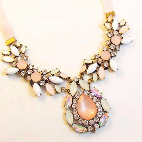 Colored Faux Gemstone Embellished Necklace by Pesci Moda