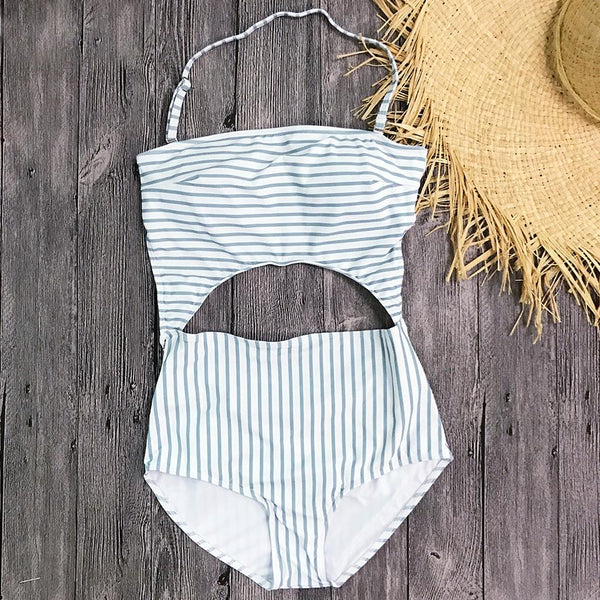 Gray Stripe Halter Cut Out Bathing Suit